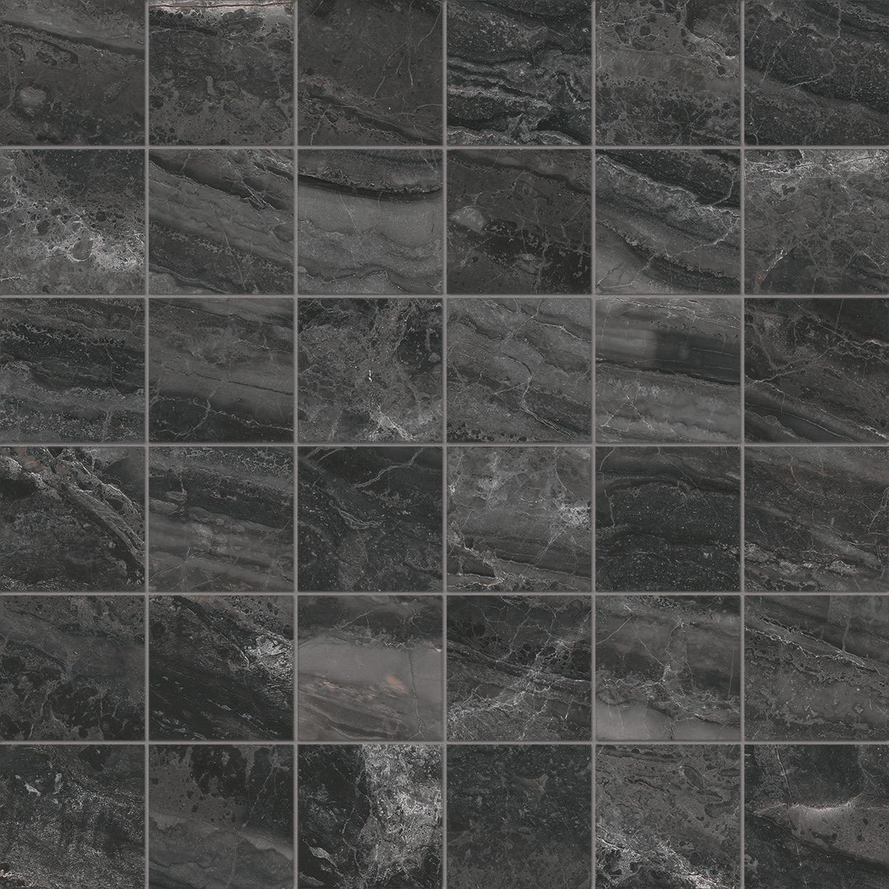 2 x 2 Cosmic Black POLISHED porcelain mosaic