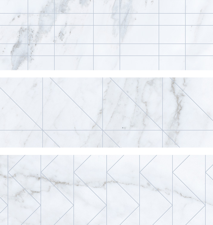 4.5 X 13 Deco Velvet Blanco brick porcelain tile (9 MIXED PATTERNS)