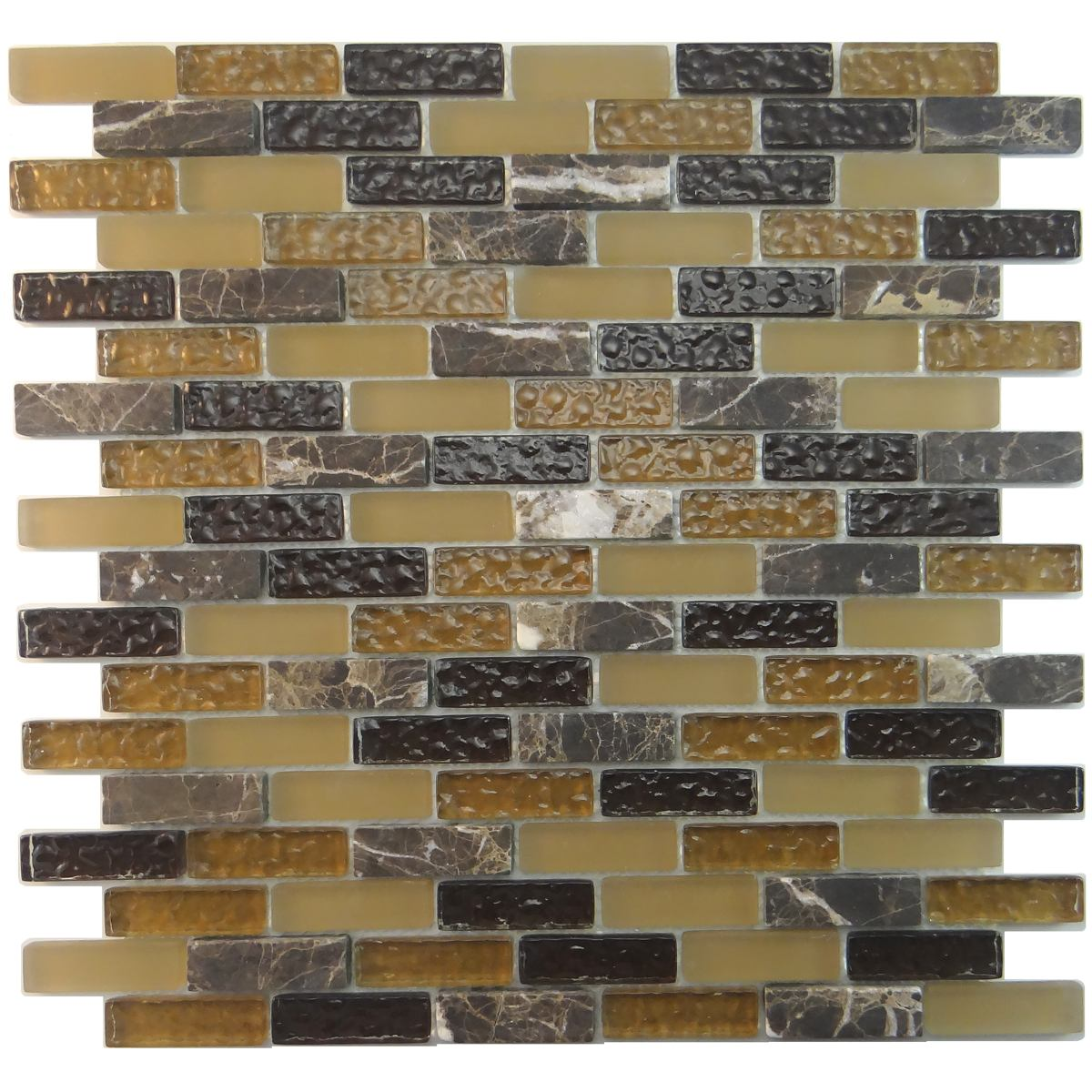 "MA02-LB  2"" BRICK GLASS AND MARBLE MOSAIC BLEND"
