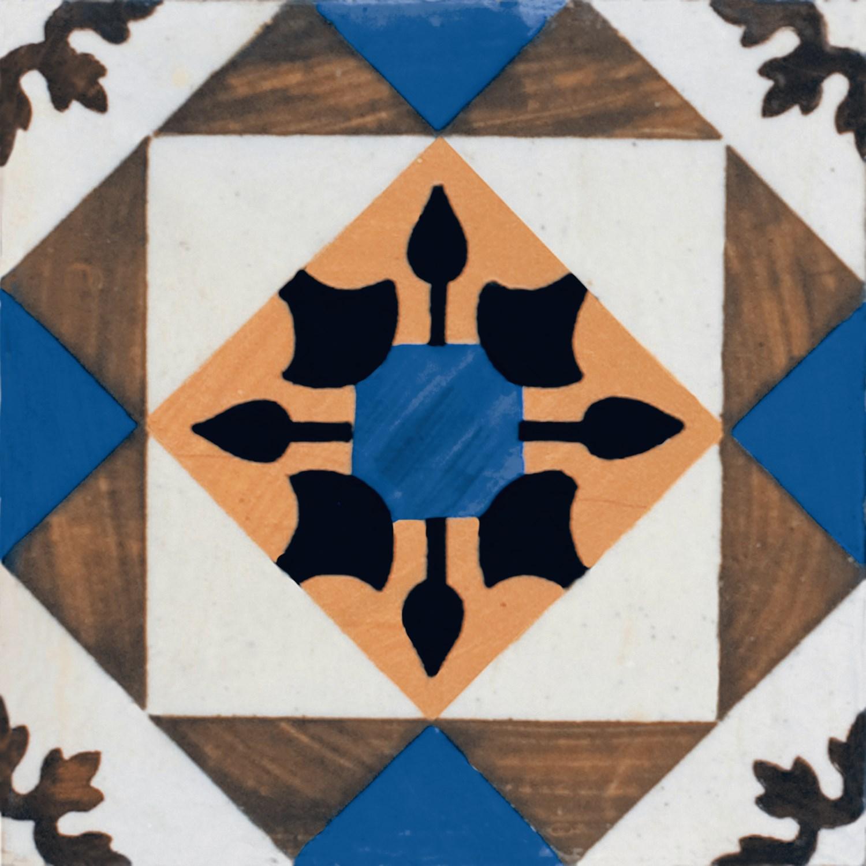 9 X 9 Art Deco 002 Azul Satin Porcelain tile