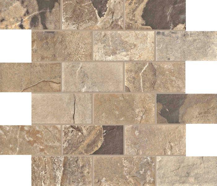 2 X 4 Natural Slate Autumn brick mosaic