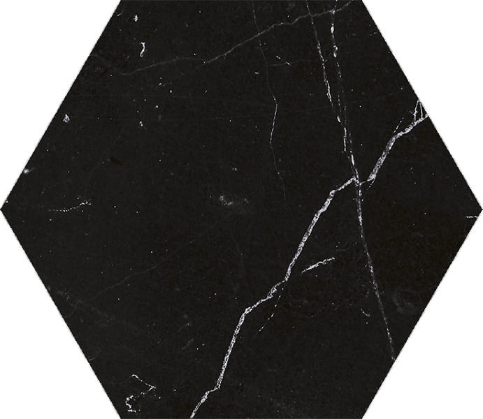 10 x 10 Marquina porcelain matte finished Hexagon
