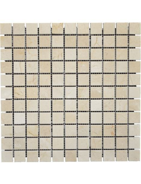 1 x 1 Crema Marfil mosaic