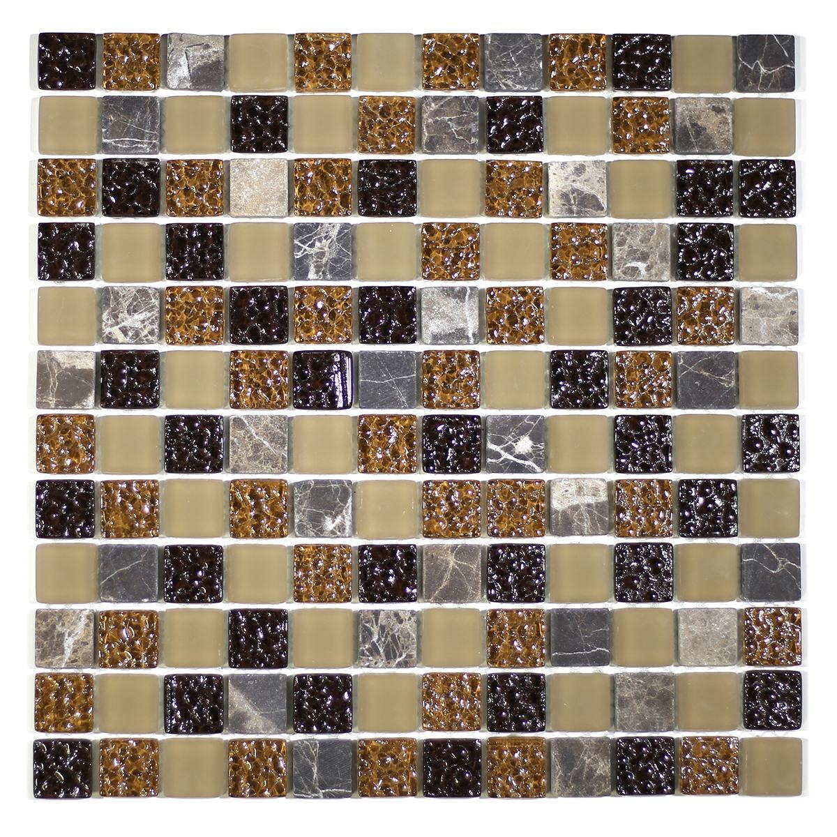 "MA02-LS  1"" SQUARE GLASS AND MARBLE MOSAIC BLEND"
