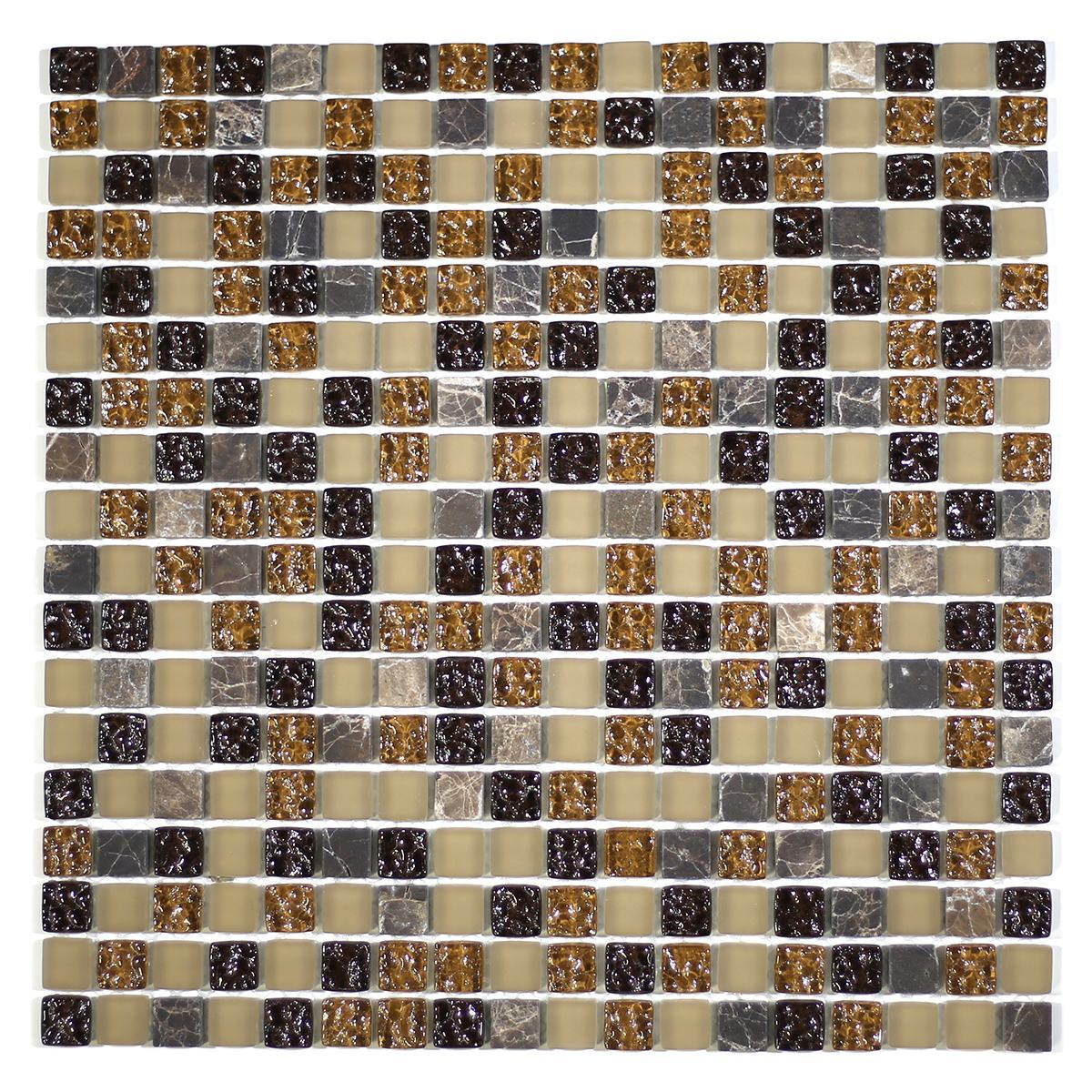 "MA02-S  5/8"" SQUARE GLASS AND MARBLE MOSAIC BLEND"
