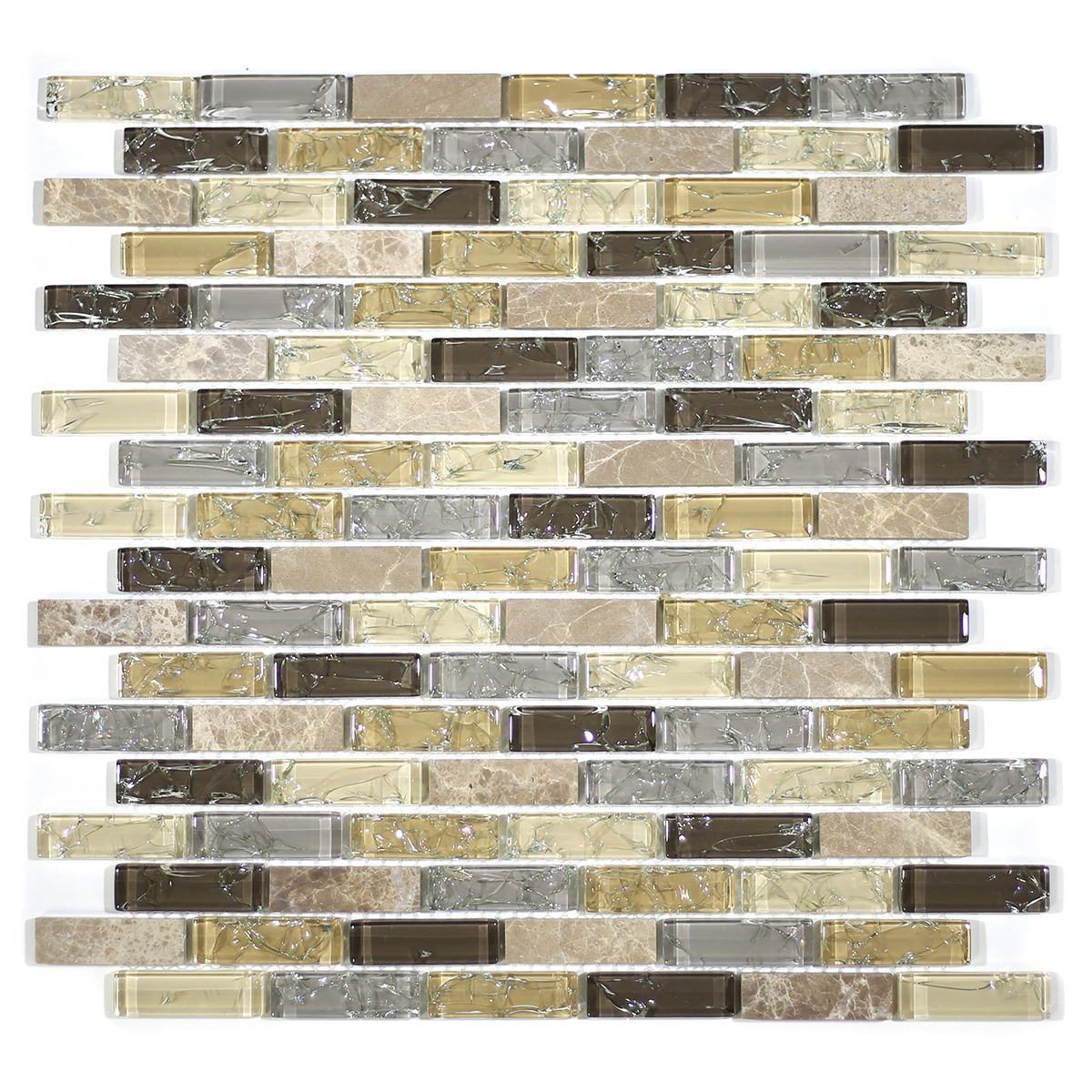 "MA10-LB  2"" BRICK GLASS AND STONE CRACKLE MOSAIC"