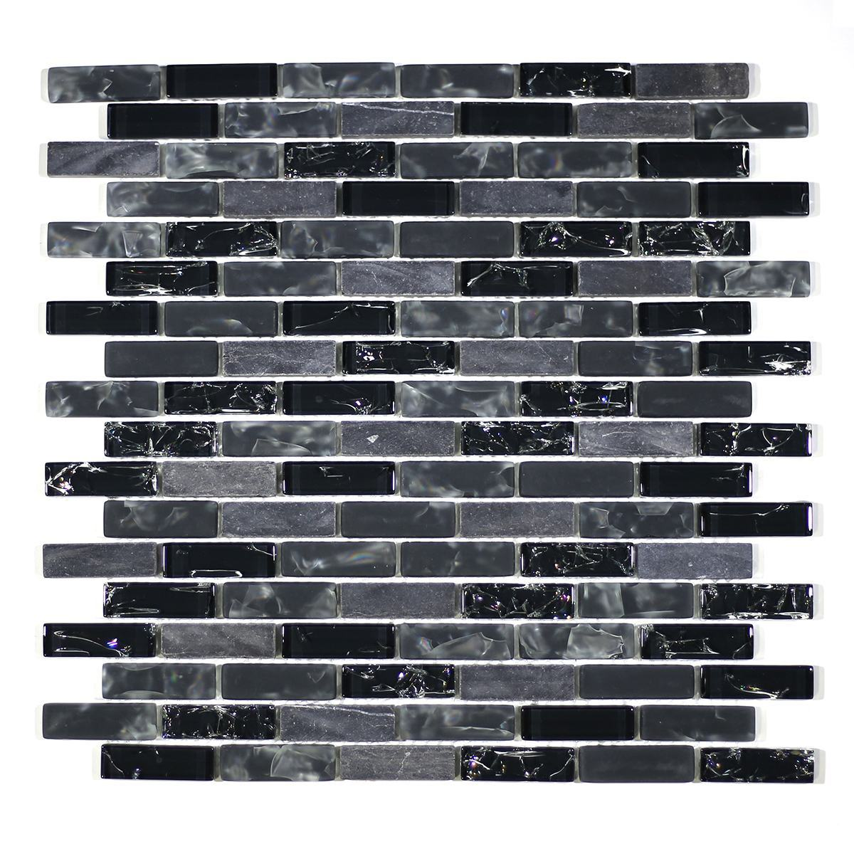 "MA15-LB  2"" BRICK GLASS CRACKLE AND MARBLE MOSAIC BLEND"