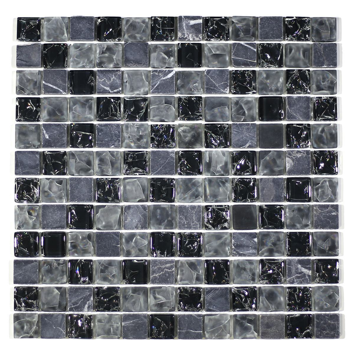 """MA15-LS  1"""" SQUARE GLASS CRACKLE AND MARBLE MOSAIC BLEND"""