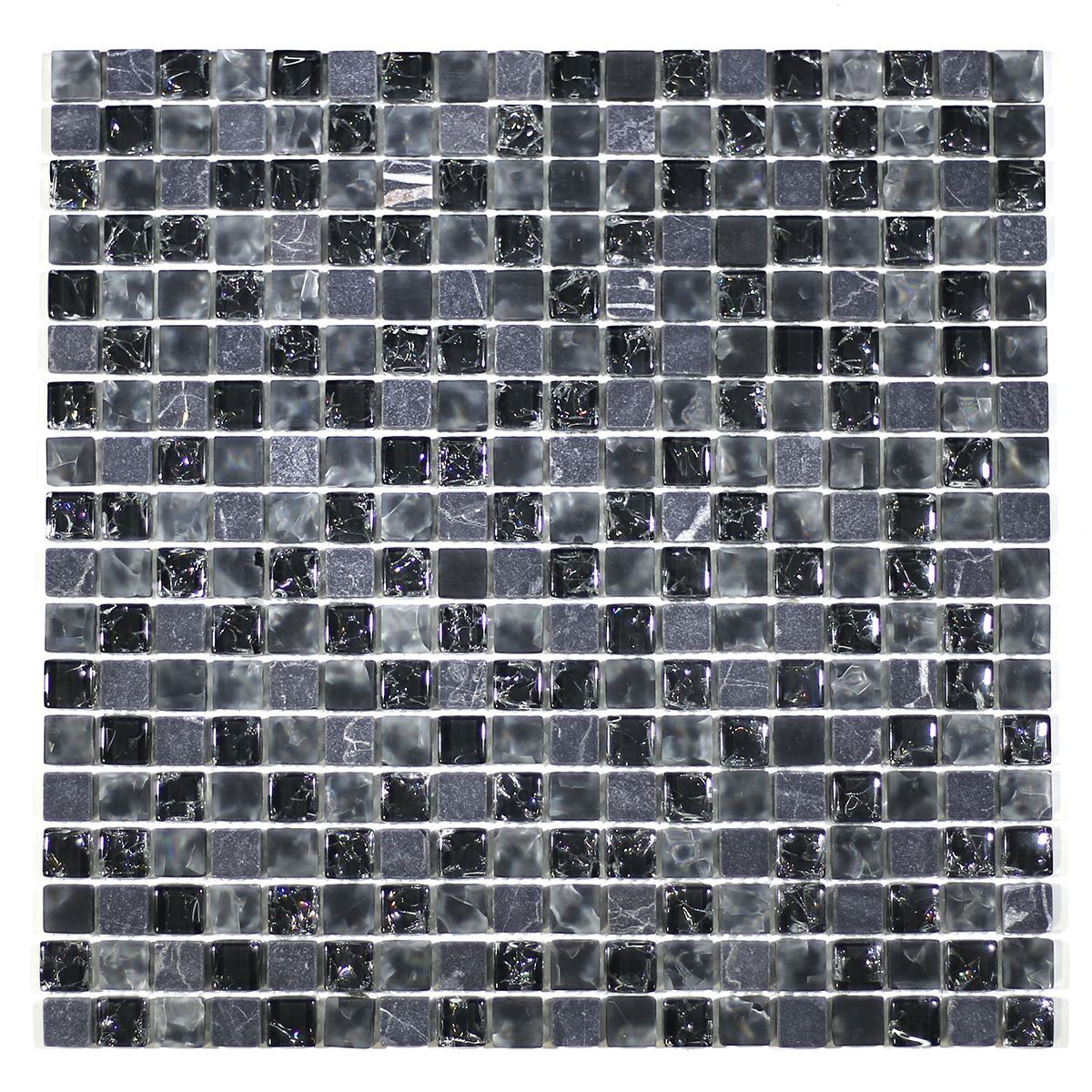 "MA15-S  5/8"" SQUARE GLASS CRACKLE AND MARBLE MOSAIC BLEND"