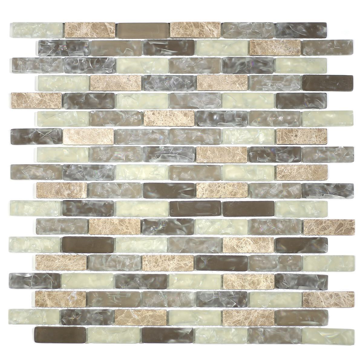 "MA16-LB  2"" BRICK GLASS AND STONE CRACKLE MOSAIC"