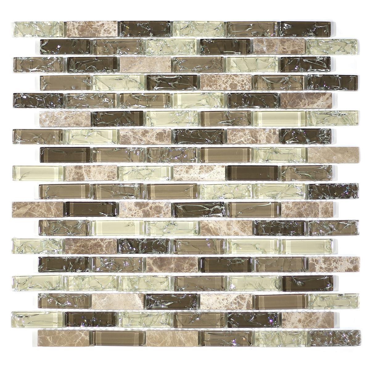 "MA17-LB  2"" BRICK GLASS AND STONE CRACKLE MOSAIC"