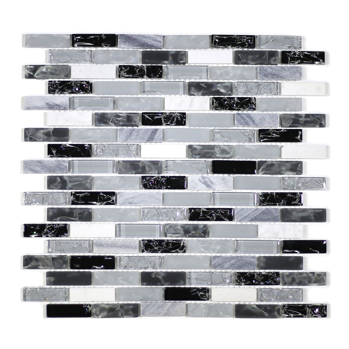 """MA14-LB  2"""" BRICK GLASS CRACKLE AND MARBLE MOSAIC BLEND"""