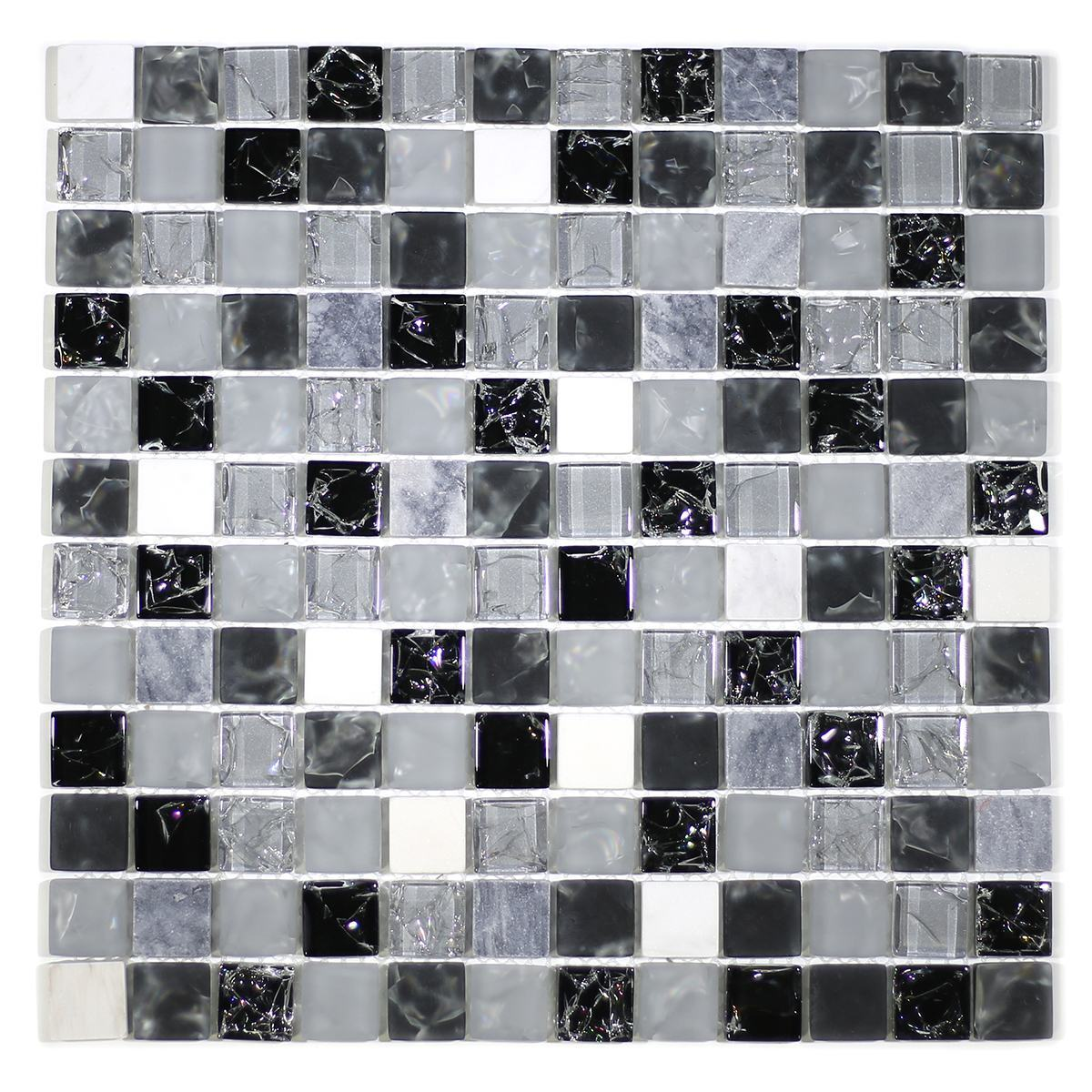 "MA14-LS  1"" SQUARE GLASS CRACKLE AND MARBLE MOSAIC BLEND"