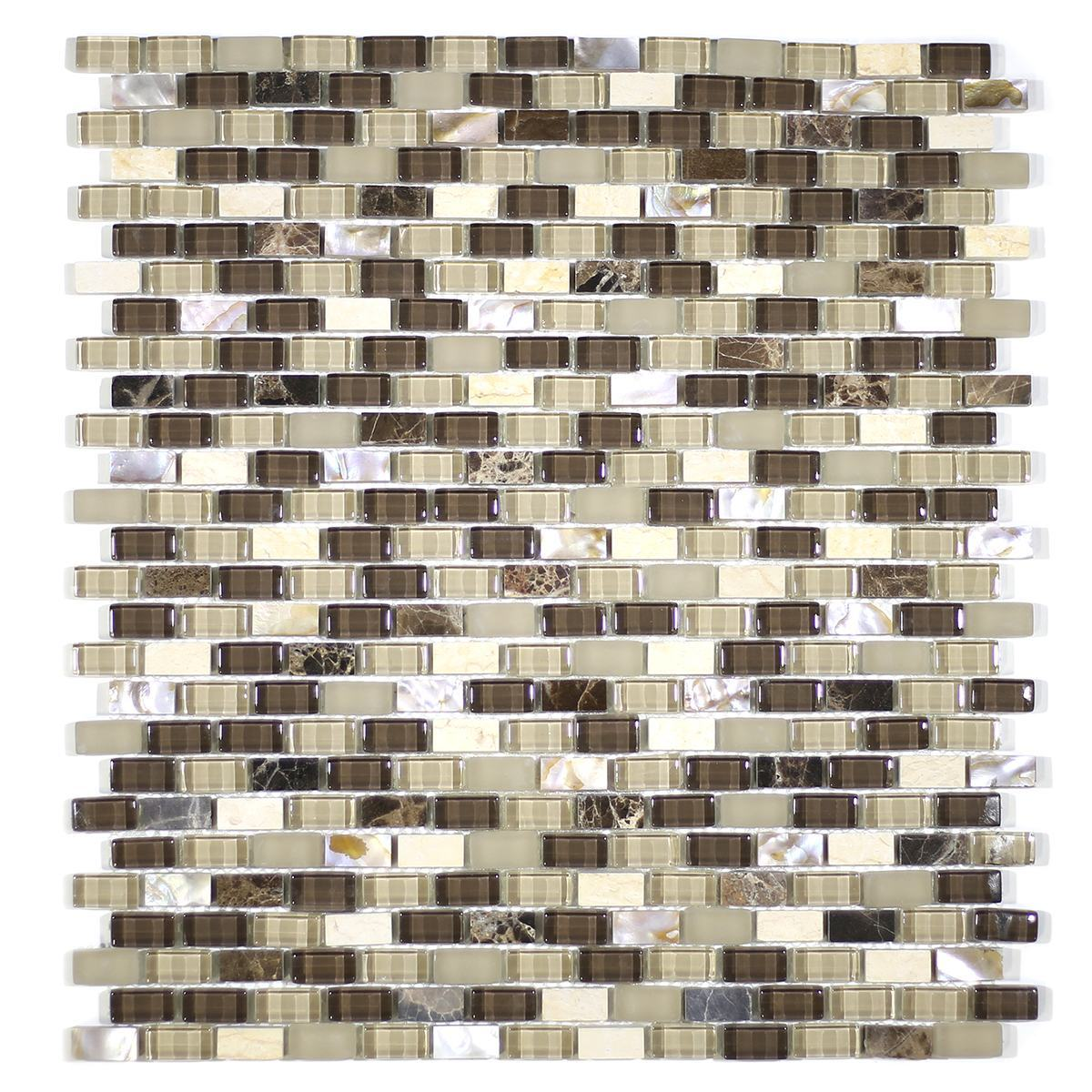 MA67-MB  MINI BRICK SHELL, MARBLE AND GLASS MOSAIC