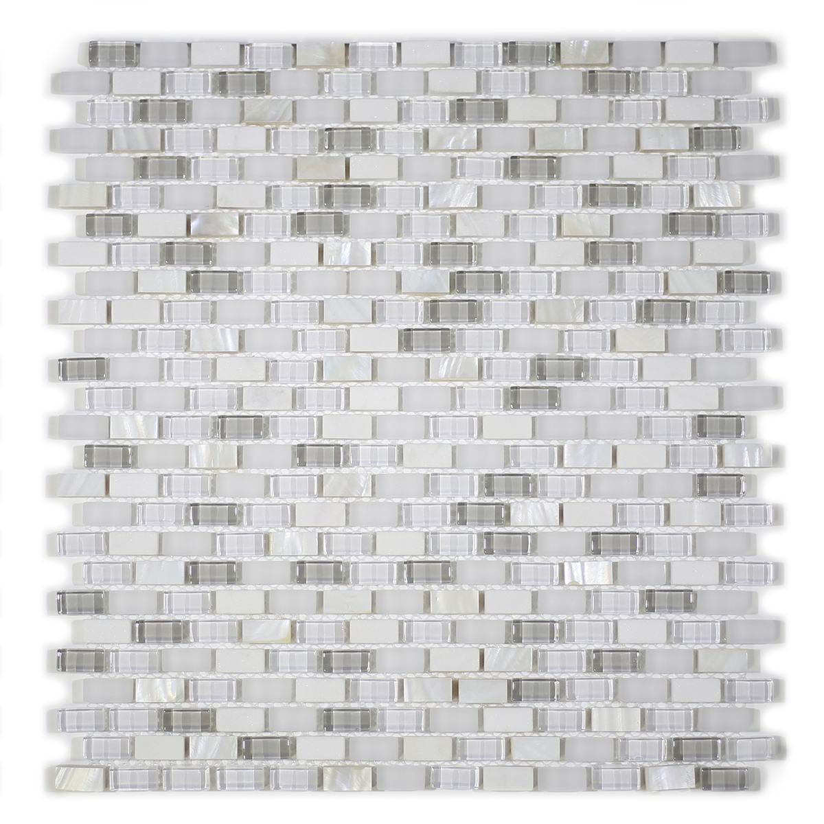 MA68-MB  MINI BRICK SHELL, MARBLE AND GLASS MOSAIC