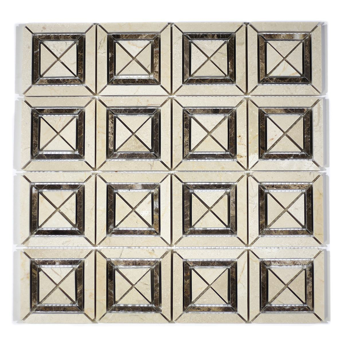 MA220-SQ  Crema Marfil + Emparador Squares with space polished