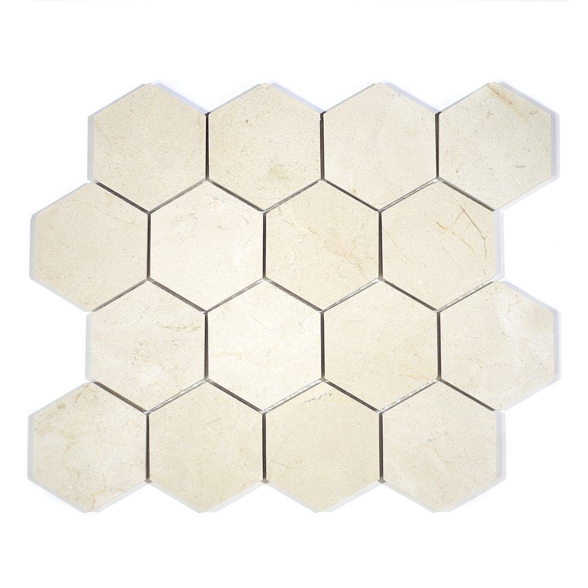 "MA230-HX3  3"" Crema Marfil Polished Hexagon"