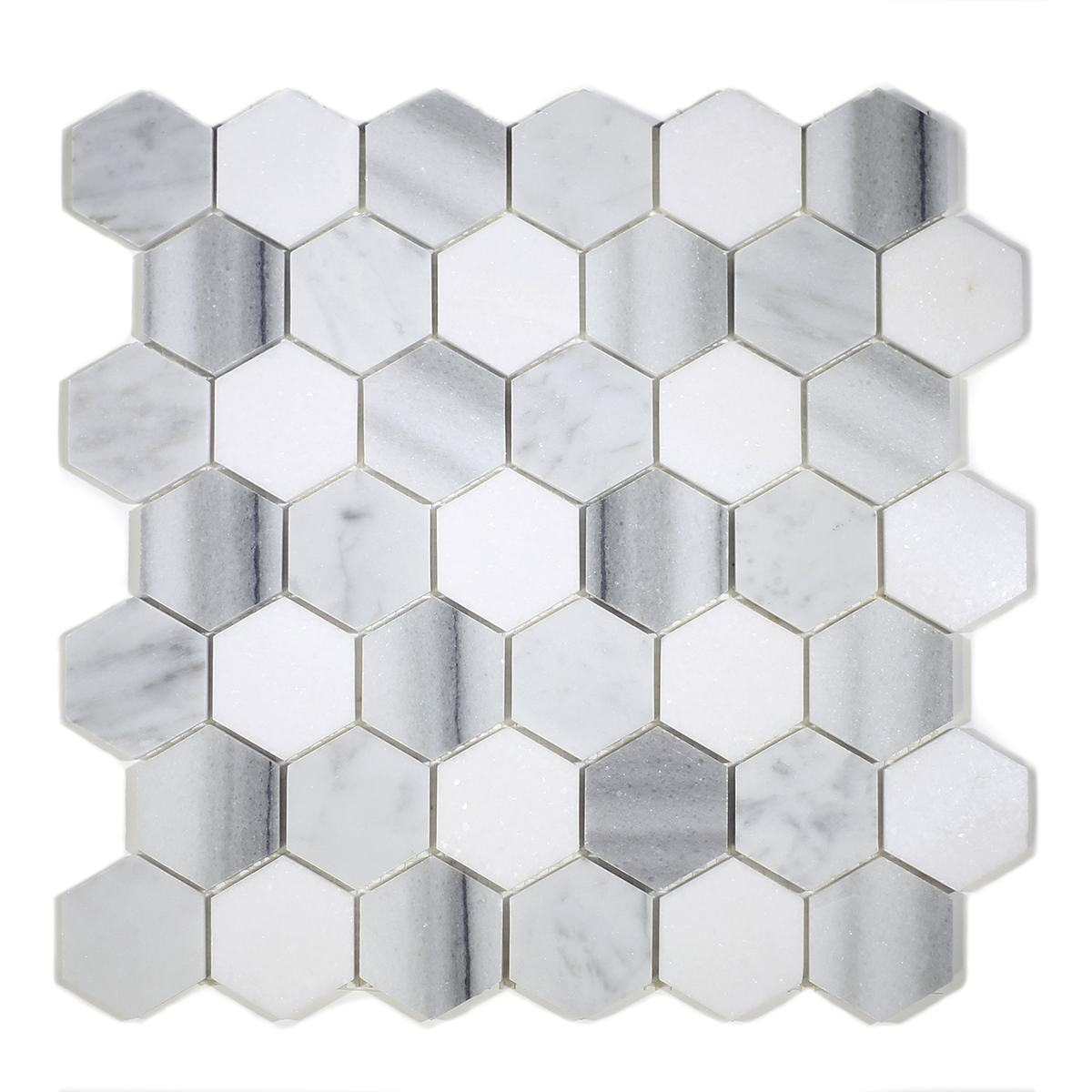 "MA231-HX2  2"" White Carrara, marwa, thasos POLISHED Hexagon"