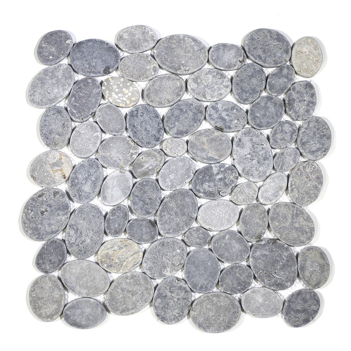 COIN MARBLE TILE GREY TUMBLED STONE PEBBLE