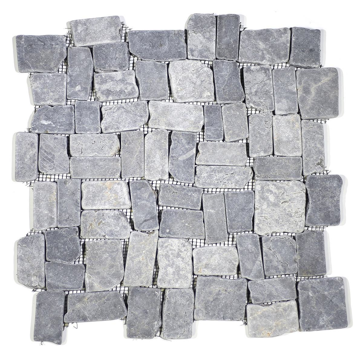 BLOCK TUMBLE MARBLE TILE GREY STONE PEBBLES  MOSAIC