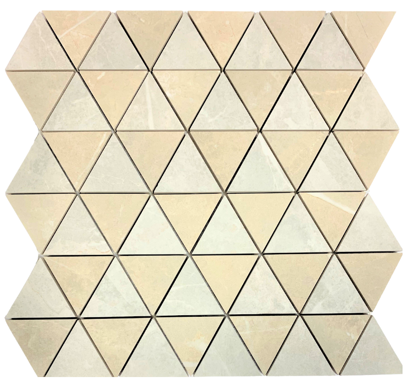 2 x 2 Ecoceramic Verdi triangle shape polished blanco and  beige mixed  porcelain mosaic